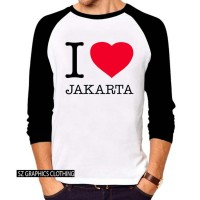sz graphics t shirt pria kaos pria raglan 3/4 pria i love jakarta
