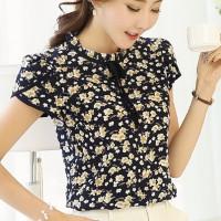 2017 Summer Floral Print Chiffon Blouse Ruffled Collar Bow Neck Shirt