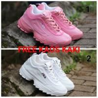 Sepatu Sneakers Wanita Fila Discruptor Casual Olahraga Murah Promo! - Putih, 39