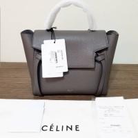 c61030e7c533 NEW Celine Micro belt Grey drak cobalt leather grained