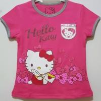 Baju kaos karakter anak perempuan hello kitty pink fanta size 1-6