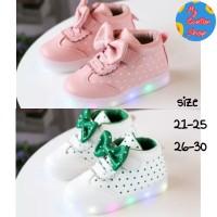 Sepatu anak perempuan Led import Sepatu anak cewek lampu polka-dot