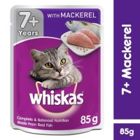 [isi 6 Pack] Whiskas Pouch Senior 85gr Makanan Kucing Basah, Mackerel