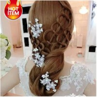 Hair pin bridesmaid mutiara hiasan rambut pengantin wanita LHHPMP