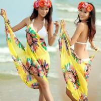 Terlaris Flower Bikini Cover Kain Pantai Motif Bunga Hijau Tosca spe