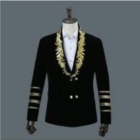 Black Embroidered Gold Velvet Men's Suit
