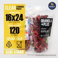 16x24 GROSIR Kemasan Plastik Klip Ziplock Standing Pouch Seal Lebar