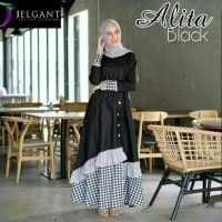 Baju Terusan Wanita Muslim Alita Untuk Pesta Kondangan Hari Raya Hitam