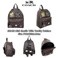 Tas Coach Grade ORI Import Mini Charlie Varsity Backpack Ransel Wanita