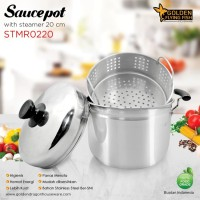 Panci Sauce Pot With Steamer 20cm Stainless Steel Golden FF STMR0220