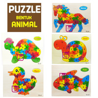 Mainan Edukatif / Edukasi Anak Puzzle Wooden Puzzle Kayu Bentuk Hewan