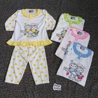 SPY91 Setelan Baju Bayi Perempuan Piyama Baju Tidur Motif OWL RIFKI