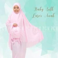 Mukena Baby silk Laser anak M - Merah Muda