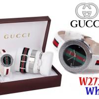 Jam Tangan Wanita Watch Import Gucci Set 4in1 W2726 2726 Putih White