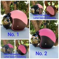 helm retro bogo bahan kulit untuk dewasa
