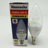 Lampu Bohlam Bola LED Candle Lilin E14 Hannochs 6W