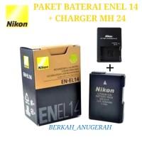 PAKET BATERAI NIKON ENEL14 + CHARGER MH-24