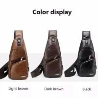 Tas slempang kulit pria   sling bag USB port high quality harga promo