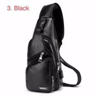 Tas pria selempang kulit   sling bag USB port - hitam