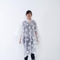 Jas hujan ponco wanita polkadot / plastik / transparan / GRC - 83005