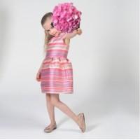 Preloved: Charabia Pink Striped Satin Dress - DISKON 200rb