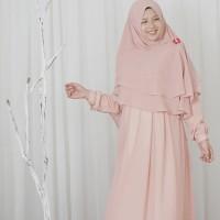 hijab alila gamis neo alexander soft peach ceruti new qisara busui