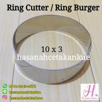 Loyang roti burger / ring cutter bulat stainless 10 x 3