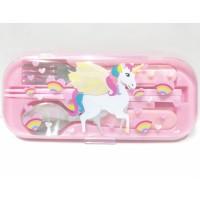 Unicorn Sendok Garpu Sumpit Alat Makan Anak Perempuan Warna Pink