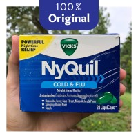 NyQuil Cold and Flu - Night Time Relief - 24 Kapsul - Original 100%