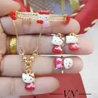 xuping set perhiasan anak kalung gelang cincin lapis emas 24k 2055
