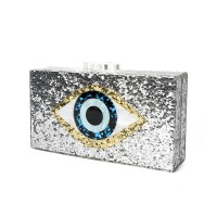Tas Wanita promo Baru Tas Fashion Silver Payet Mata Besar Printing