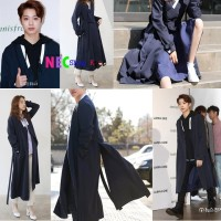 Lai Guanlin Trench COAT Navy - Fall Hanbok (Modern and Chic)