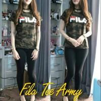 #1B REAL PICT FILA ARMY TEE BAJU KAOS FILA LORENG WANITA BAJU Limited