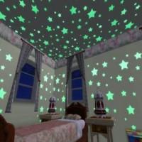 Glow in the dark star Wall Sticker isi 100 pcs bintang stiker dinding