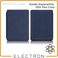 Kindle Paperwhite 10th Gen Case Biru Tua Navy PU Leather 10 Generation