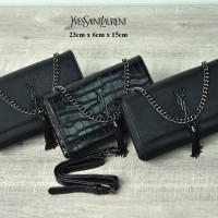 29ba8a9d4f Clutch YSL Cassandre Tassel So Black Medium HITAM Semi PremiumAP561