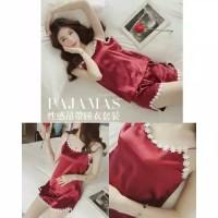 Baju Tidur Piyama Wanita/Cewek Setelan Avenue Bahan Satin Import