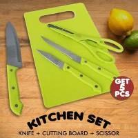 5 in 1 Exclusive Knife Kitchen Set   Dapur Set Pisau Gunting Talenan