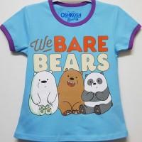 Kaos Pendek Oshkosh Anak Karakter We Bare Bears Beruang Biru Size 7-10