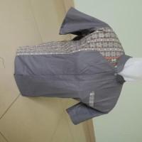 jual murah Kemeja / Baju Koko Muslim Pria Rommy - Abu Kombinasi Batik