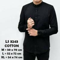 Harga kemeja pria baju cowok lengan panjang hitam polos murah casual | Pembandingharga.com