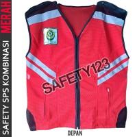 Rompi Jaring Safety Kombinasi SPS K3 Vest 2 Lapis Tebal Bagus Merah