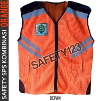 Rompi Jaring Safety Kombinasi K3 SPS Logo Vest 2 Lapis Terbaru Orange