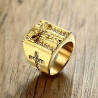 Original Salib Yesus Putih Cubic Zirconia Cincin untuk Pria Nada Emas
