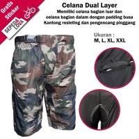 Celana Sepeda Komprang Pendek 2in1 Dual Layer Padding Loreng