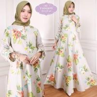 Maxi Intan Flower (38) Baju Muslim Wanita Gamis Model Kekinian Terbaru