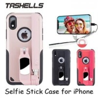 iPhone XR Tashells Built In Selfie Stick Case Wired Tongsis Casing