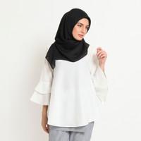 Hijab Ellysha BALLERINA RUFFLE BLOUSE WHITE