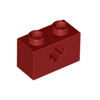 LEGO Lot of 12 Reddish Brown 1x2 Technic Bricks with Hole