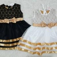 Baju dress gaun pesta kondangan anak bayi perempuan brokat emas